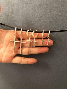 c58566553 Dainty Rosegold Cross Dangling earrings, Tiny Cross charm earrings,  minimalist jewelry, Hoop Cross Earrings, summer jewelry festival jewelry