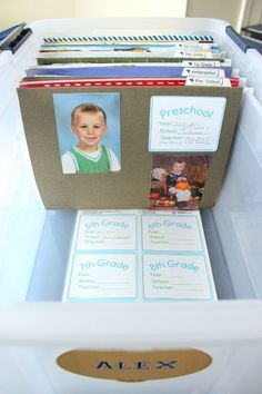 together a school memories box for each of your kids' best or most special work from every year. Put together a school memories box for each of your kids' best or most special work from every year. Memories Box, School Memories, Cherished Memories, Baby Memories, Baby Kind, Raising Kids, Organization Hacks, Scrapbook Organization, Filing Cabinet Organization