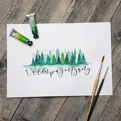 Fabulous Drawing On Creativity Ideas. Captivating Drawing On Creativity Ideas. Watercolor Lettering, Watercolor Print, Watercolor Illustration, Watercolour Painting, Watercolor Landscape Paintings, Watercolor Trees, Art Sketches, Art Drawings, Sennelier Watercolor