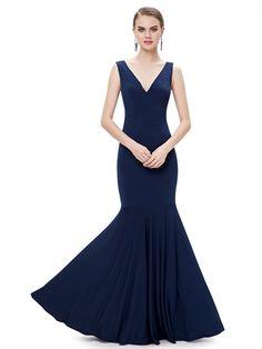 High Quality V Neck Mermaid Floor Length Popular Cheap Long Prom Dress