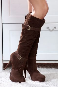 Brown Faux Soft Suede Double Buckle Straps Round Toes Calf High Boots