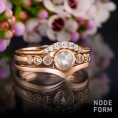 rose gold stacking rings with diamonds