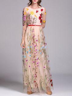 Apricot Floral Swing Elegant Evening Dress with Belt - Size M