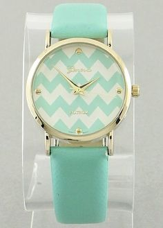 $19.00 Wrist Watch Chevron Time Mint - Kelly Brett Boutique