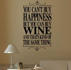 Large Wall Quote Happiness Red White Rose Wine Sticker Transfer Stencil Decal | eBay