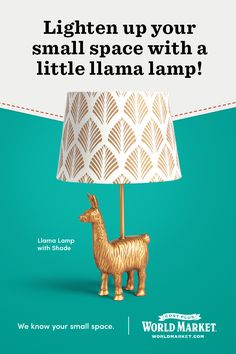 Perfect for adding a worldly and whimsical touch to any room, our exclusive and affordable llama lamp lights up a small space with personality and warmth. Furry, fuzzy warmth. #WeKnowSmall