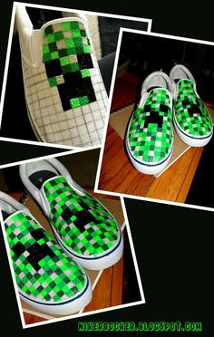 These Minecraft shoes are good for all of the Minecraft geeks. It's a good way to wear shoes in style, and show off your Minecraft love! Minecraft Diy, Minecraft Shoes, Minecraft Bedroom, Minecraft Furniture, Minecraft Buildings, Minecraft Costumes, Minecraft Stuff, Minecraft Construction, Creeper Minecraft