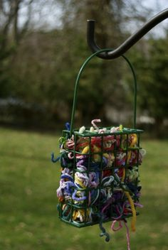 Use a suet feeder to hold scraps of yarn for birds to use in their nests. Great spring project!