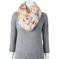 Apt. 9 Crinkle Zigzag Infinity Scarf, Size: One Size (Pink) ($8.40) ❤ liked on Polyvore