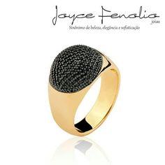 Maravilhoso Anel em Banho de Ouro 18k com Zircônias Black com Aplique em Ródio Negro ❤ - ✅Pedidos via direct ou WhatsApp 19 984289457 ✅Entregas para todo o Brasil ! #semijoias #joycefenoliojoias #luxo #tendencia #tops #elegant #modafeminina #stylish #bomdiaa