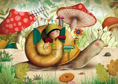 """Escargot"" by Marie Desbons Art And Illustration, Illustrations Posters, Snail Art, Art Fantaisiste, Art Mignon, Mushroom Art, Jolie Photo, Whimsical Art, Cute Art"