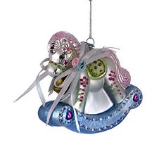 """3.75"""" NOBLE GEMS GLASS BABY'S FIRST CHRISTMAS ROCKING HORSE Christmas Tree Ornament >>> You can get additional details at the image link."""