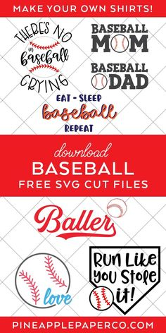 There's No Crying in Baseball SVG File to make a DIY Baseball Shirt with links to 14 other FREE Baseball SVG Files. Find them all at Pineapple Paper Co. Free Svg Files Monogram, Cricut Svg Files Free, Free Svg Cut Files, Cricut Vinyl, Cricut Craft, Vinyl Decals, No Crying In Baseball, Make Your Own Shirt, Baseball Shirts
