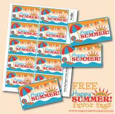 Free Printable - Happy Summer Favor Tags  - The CreativiDee Workshop