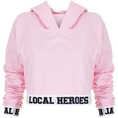 Local Heroes LH Cropped Hoodie (720 MXN) ❤ liked on Polyvore featuring tops, hoodies, shirts, crop top, sweatshirts, hoodie shirt, logo hoodies, cropped hoodies, pink crop top and pink shirt