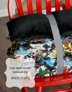 Another Nap Mat Cover tutorial (from She's crafty) -- cute fabric & cute ribbon/button idea for attaching a pillow