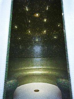 Bespoke 'Globen' steam room designed by Dröm UK Ltd Steam Room, Steam Showers, Qingdao, Corian, Fiber Optic, Downlights, Twinkle Twinkle, Bespoke, Mosaic