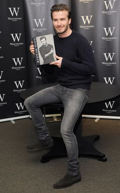 David Beckham wears Saint Laurent Suede Chelsea Boots at Book Signing Event David Beckham Photos, David Beckham Style, David Beckham Signature, Stylish Men, Men Casual, Superenge Jeans, Gray Jeans, Grey Pants, Suede Chelsea Boots