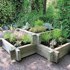 Tiered garden bed. Use something similar to hide AC?