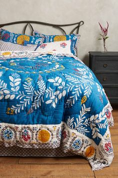 NWT ANTHROPOLOGIE ZOCALO QUEEN EMBROIDERED HOTHOUSE QUILT + 2 EURO PILLOW SHAMS #Anthropologie