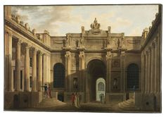 Soane's London › The Bank Of England - Perspective of Lothbury Court, the back entrance to the Bank