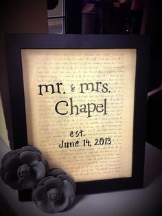 Write the lyrics of a couple's first dance song on pretty paper, add scrapbook stickers, frame it, and add something sweet to the frame. I chose yellow and gray, the couple's wedding colors. great custom bridal shower gift and all for under $15! :)