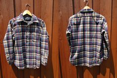 Vintage Bruised Pendleton Flannel Grey Blue  Long Sleeve Shirt Red & White Long Sleeve Shirt Sz Med