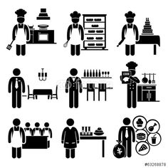 Vektor: Food Culinary Jobs Occupations Careers