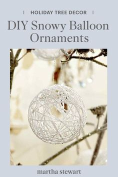 This winter, make beautiful Christmas tree ornaments with our step-by-step tutorial for pretty, snow-covered string ornaments using a few supplies. With little more than some balloons and glitter, you can fill your home with decorative DIY snowballs. #marthastewart #christmas #diychristmas #diy #diycrafts #crafts Christmas Things To Do, Christmas Decorations For The Home, Holiday Crafts For Kids, Christmas Love, Diy Christmas Ornaments, Beautiful Christmas, Christmas Holidays, Christmas Balls, Xmas
