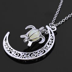 Silver Plated Chain Moon Turtle Necklaces Pendants Glowing in Dark Statement Necklace Women Necklace Choker Luminous. Click visit to buy #PendantNeklace
