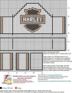 Harley Napkin Salt and Pepper Holder 2 Box Patterns, Bead Loom Patterns, Craft Patterns, Plastic Canvas Crafts, Plastic Canvas Patterns, Cross Stitch Designs, Cross Stitch Patterns, Canvas Purse, Tissue Box Covers