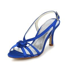 Women's Satin Stiletto Heel Peep Toe Sandals Slingbacks With Buckle (047066183)