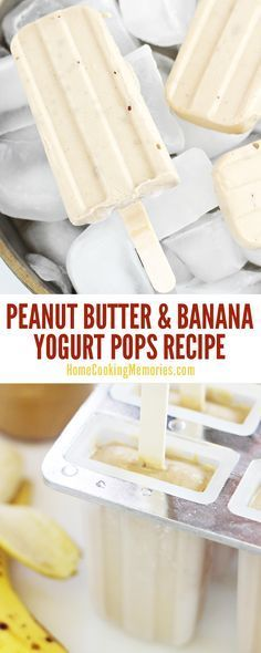So delicious! This Peanut Butter and Banana Yogurt Pops recipe is healthy easy to make and you'll only need 4 simple ingredients: peanut butter bananas yogurt and honey. A healthy snack for kids who love Popsicles! Köstliche Desserts, Frozen Desserts, Delicious Desserts, Yummy Food, Frozen Treats, Yummy Snacks, Healthy Snacks For Kids, Healthy Sweets, Healthy Drinks
