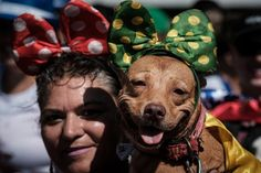 """A reveller holds her dog dressed in costume, during the Rio Dog Carnival, known as the Blocao – with """"bloco"""" meaning street party and """"cao"""" dog, during pre- carnival celebrations at Copacabana beach in Rio de Janeiro, Brazil, on February 19, 2017. (Photo by Yasuyoshi Chiba/AFP Photo)"""