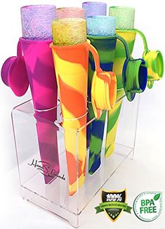 Popsicle Molds/Maker with Attached Cap,Silicone Ice Pop Molds [Set of 6] with Perfect Popsicle Holder-Ice Pop Maker Set HealthPop http://smile.amazon.com/dp/B00M0X07WG/ref=cm_sw_r_pi_dp_QxFEvb19A8P2S