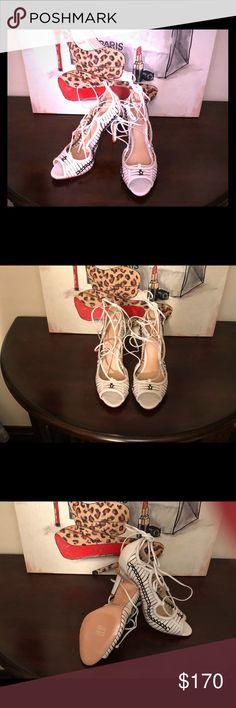 """SCHUTZ """"MATTIE"""" Pearl/Black strappy 4+ inch stiletto - never worn with original box and dust bag - originally purchased from Dillards SCHUTZ Shoes Heels"""