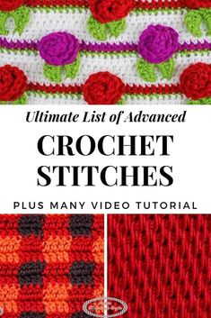 Learn how to Crochet Advance Stitches using this ultimate list that includes so many different stitches you will always find a new one to use for a project. #crochet #pattern #crochetpattern  #crochettutorials #howto #howtocrochet #tutorials #video #advancedstitches #stitches #diy #diyideas #giftideas #advanced #ultimate #list #collection #roundup Different Crochet Stitches, Tunisian Crochet Stitches, Crochet Stitches Patterns, Stitch Patterns, Afghan Crochet, Crochet Blankets, Learn To Crochet, Easy Crochet, Crochet Crafts