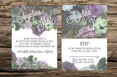 Flower Vintage Style Wedding Invitation by ASplashOfHearts on Etsy