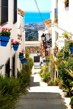 Beautiful street with flowers in the Mijas town, Spain Washable Wall Mural - Themes Places Around The World, Travel Around The World, Around The Worlds, Cadiz, Mijas Spain, Beautiful Streets, Beautiful Places To Travel, Spain Travel, Travel Destinations