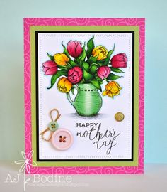 RutabagaPie Designs: Power Poppy - Tulips in Hobnail Pitcher - Card 1