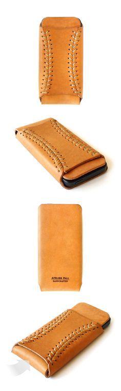 iPhone baseball sleeve [I love the baseball stitching! Jayme thinks it looks like sutures.]