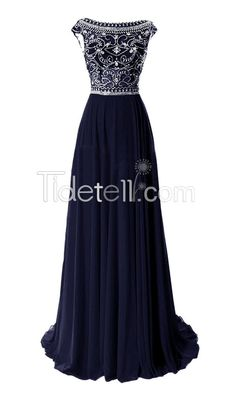 Hot Navy A-line Chiffon Bateau Long Prom Dresses Beaded Cap Sleeves Sweep