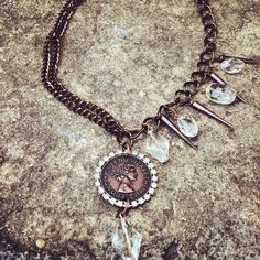 Copper royalty necklace with crystals and spikes