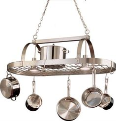 Satin Nickel Pot Rack Chandelier - very similar to the one I purchased (also via Lamps Plus), but I got an open box special so after shipping, cost was and change. Pot Rack Hanging, Hanging Pots, Design Page, Design Ideas, Pool Table Lighting, Pot Hanger, New Interior Design, Kitchen Lighting Fixtures, Discount Lighting