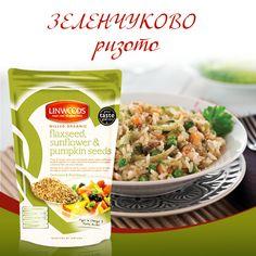 Пригответе с Балев Био Маркет Вкусно зеленчуково ризото с Био студено смляно ленено, слънчогледово и тиквено семе: