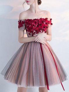 Hot Sale Belt/Sash/Ribbon Burgundy Homecoming Prom Dresses Fine Short Off-the-Shoulder Short Sleeve Lace Up Dresses