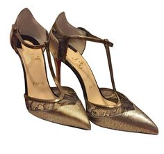 Christian Louboutin Mrs Early 100 Gold Leather Lace T-Strap Pumps Shoes #ChristianLouboutin #Stilettos