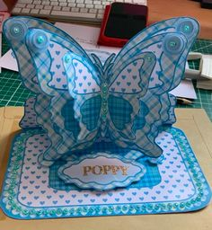 Layered Easel Card-butterfly- Turquoise Tartan - CUP564817_173 | Craftsuprint Butterfly Mobile, Easel Cards, Butterfly Cards, Tartan, Card Making, Layers, Turquoise, Layering, Green Turquoise