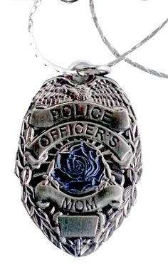 Police Officer's Mom Blue Rose Pendant with 18 Inch Chain  Product Code: PNDT004 on Etsy, $15.99