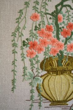 Vintage Crewel Plum Blossom by nocarnationshome
